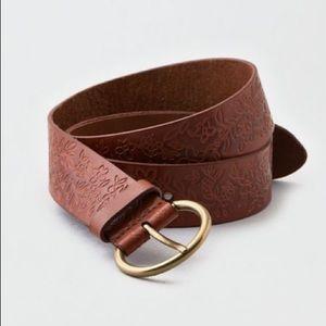AEO // Floral Embossed Brown Leather Belt